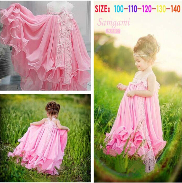 Retail 2015 new baby girls Princess Dress saft chiffon dress summer pink girl party dresses,baby clothing - Fashionable clothes house store