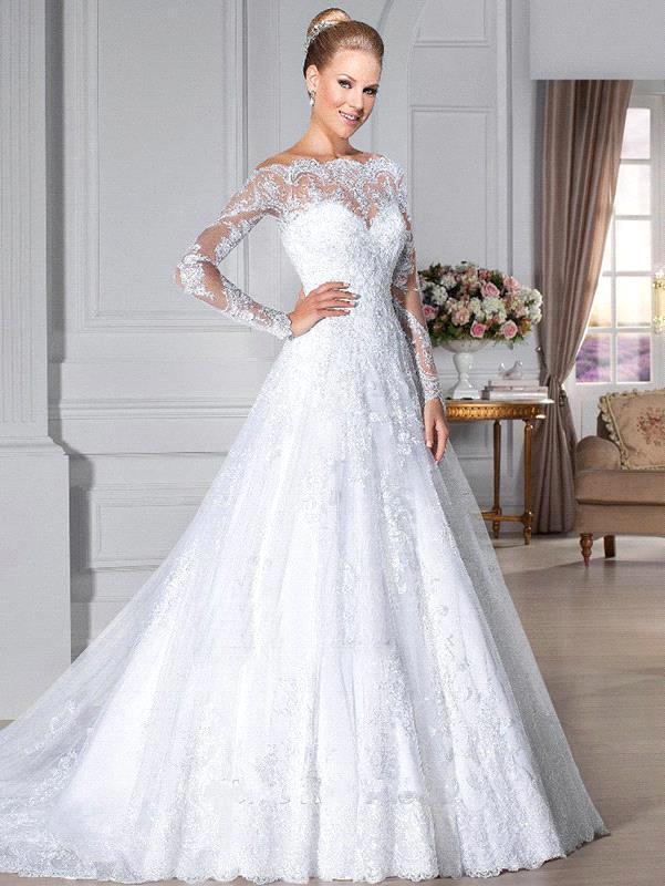 dentelle blanche manches longues robes De mariée De lépaule robe De ...
