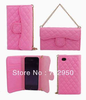New arrival luxury Grid PU Leather Skin Case Cover Pouch Bag Handbag Wallet for iPhone 5g 5s with card holder