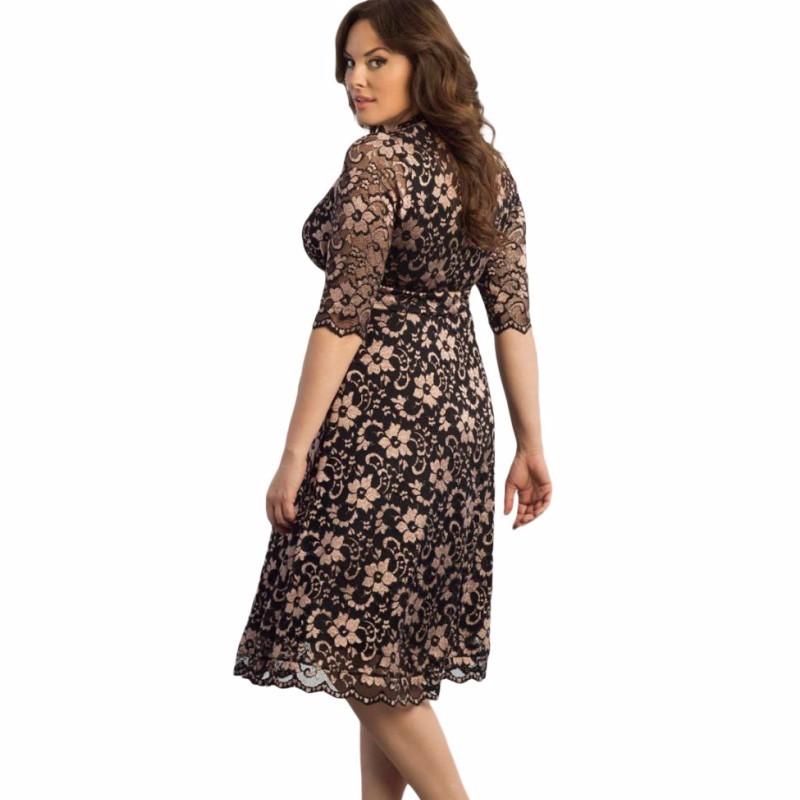 5สี2016ลำลองสตรีเสื้อผ้าแฟชั่นbodyconเซ็กซี่ชุดขนาดบวกด้วยลูกไม้แกลลอปvคอmidiคลับเดรสS61324 ถูก