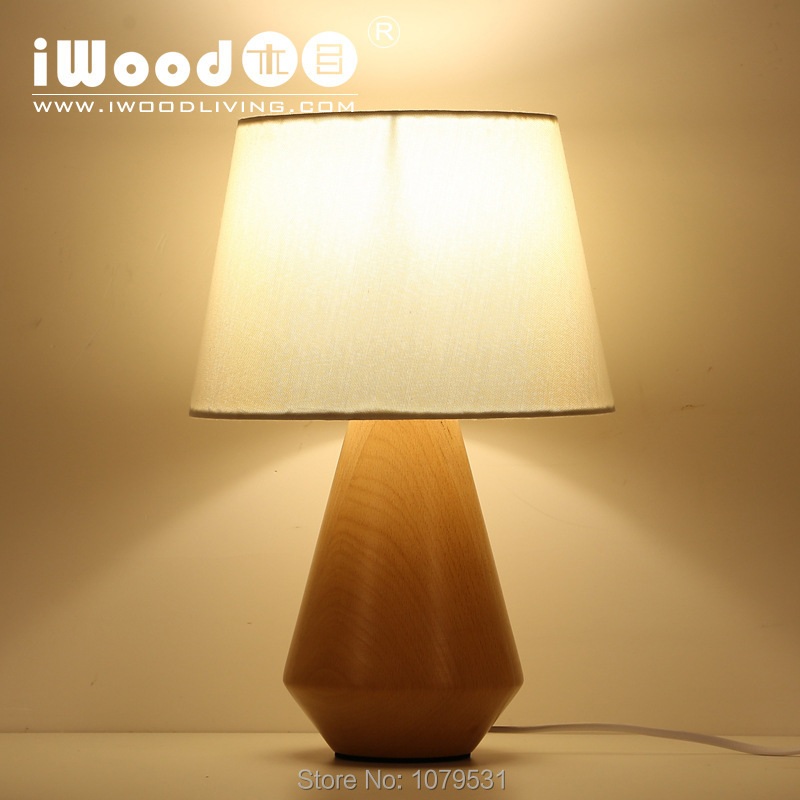 Bedside wood table lamp fabric wood lamp creative lamp in table lamps