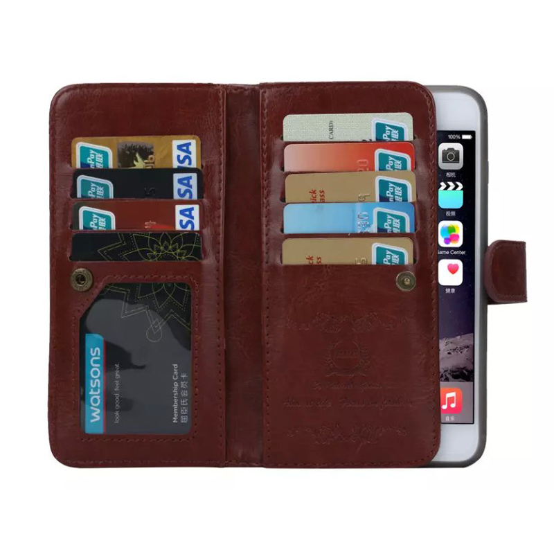 Business Crazy Horse PU Phone Cases and 9 Credit Card Holder 2 In 1 for iPhone 6s Detachable Case Cover