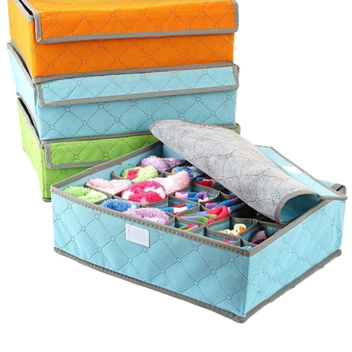New Arrival 2015 Portable Non Woven Bamboo Charcoal Fibre Storage Box Home Folding Storage Bag For Bra Underwear 1 Pcs(China (Mainland))