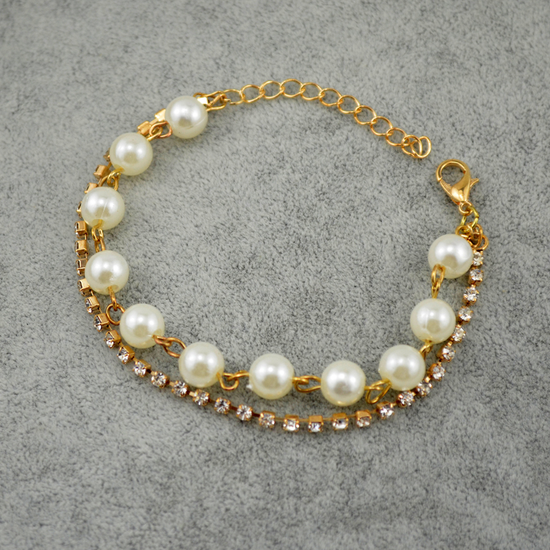 Gold Plated Gift Bangles Jewelry New Women Fashion Created Diamond Crystal A String Of Pearls Party Bracelet For Comely Women()