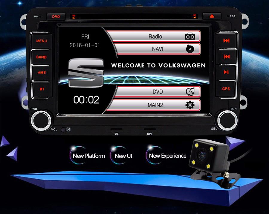 Junsun 7 inch Capacitive Screen 2 din Car DVD Player For Seat/Altea/Leon/Toledo/VW/Skoda GPS Navigation FM radio with free map
