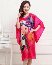 Novelty Blue Ladies Robe Spring Chinese Women Rayon Sleepwear Kimono Bath Gown Nightgown Flower One Size Mujer Pijama  W4S0077(China (Mainland))