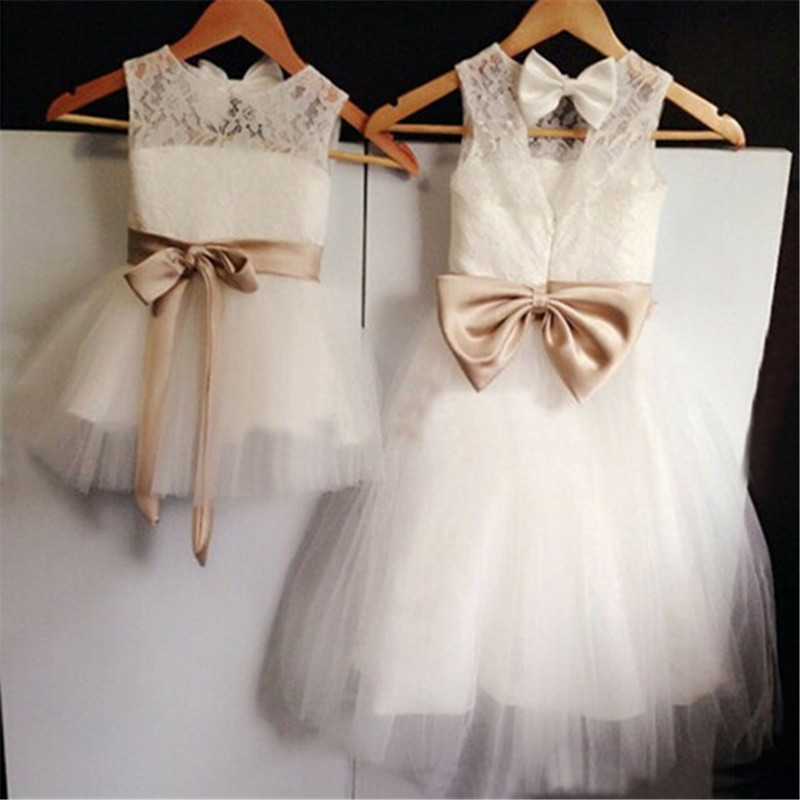 Mands Dresses For A Wedding : New backless flower girl dress with bow wedding party