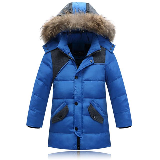2017 дети вниз Куртки верхняя одежда Мальчиков зимняя куртка дети пальто с меховым капюшоном с длинным теплый толстый зимние пальто одежда 81501