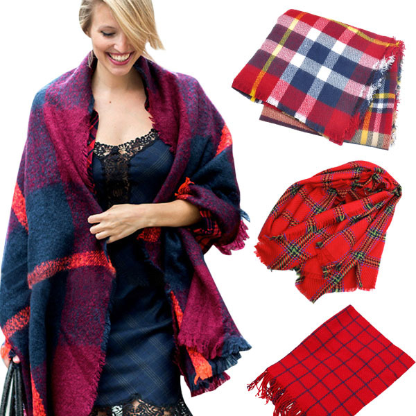 Mix 12 Styles Autumn Winter Scarf Fashion Style Multicolor Imitation Cashmere Plaid Tassels Shawl Women - Shenzhen Sundah Tech Co., Ltd.(Craft & Gift Dept. store)
