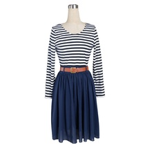 2016 new Spring Chiffon Dress Sexy Backless Stripe Splicing Elastic big sizes Women clothing desigual vestidos femininos dress(China (Mainland))