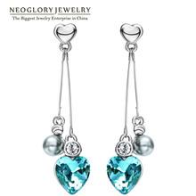 Neoglory Austrian Crystal Rhinestone Long Tassel Heart Love Dangle Drop Earrings Gifts Birthstone Fashion Jewelry 2016 New He1(China (Mainland))
