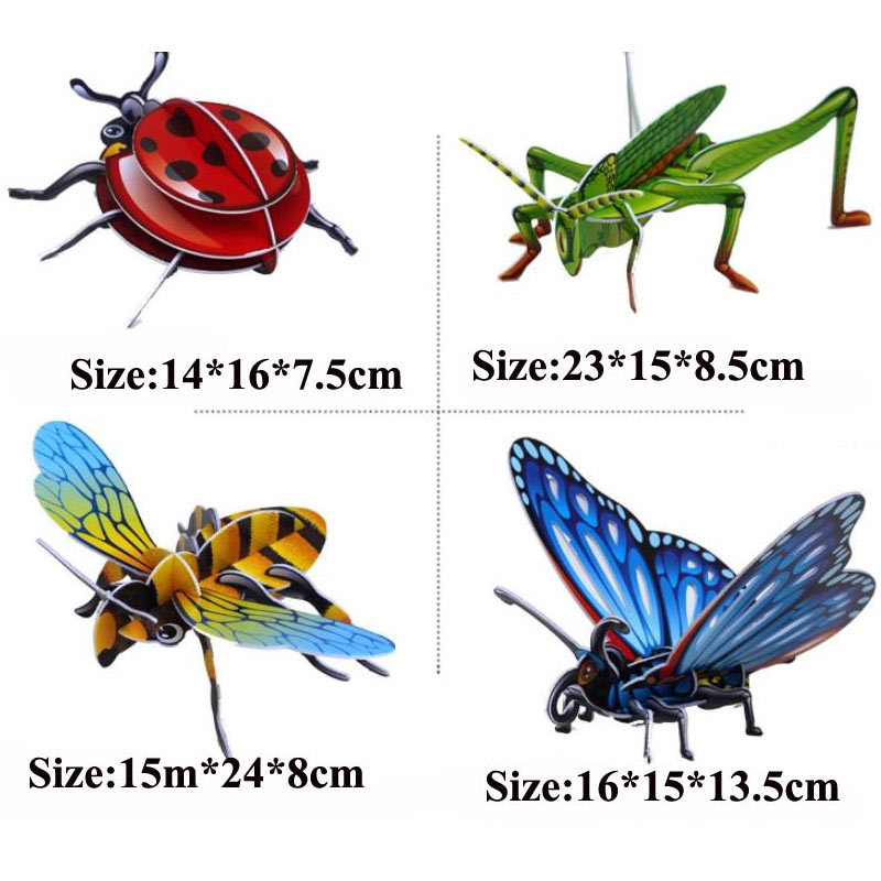 Small Size Simple Easy 3D Insect Puzzle 3d DIY Educational Toys for Younger Kids(China (Mainland))
