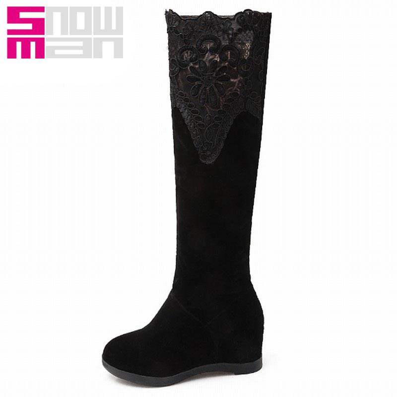 Sexy Lady Lace Hidden Wedges Knee High Boots Slim Boots Autumn Winter Boots 2015 Brand High Heels Platform botas femininas