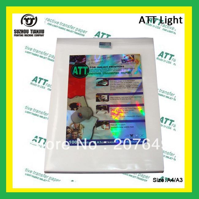 ATT(A3) light color heat transfer paper,T shirts transfer paper,inkjet printing paper-A3(China (Mainland))