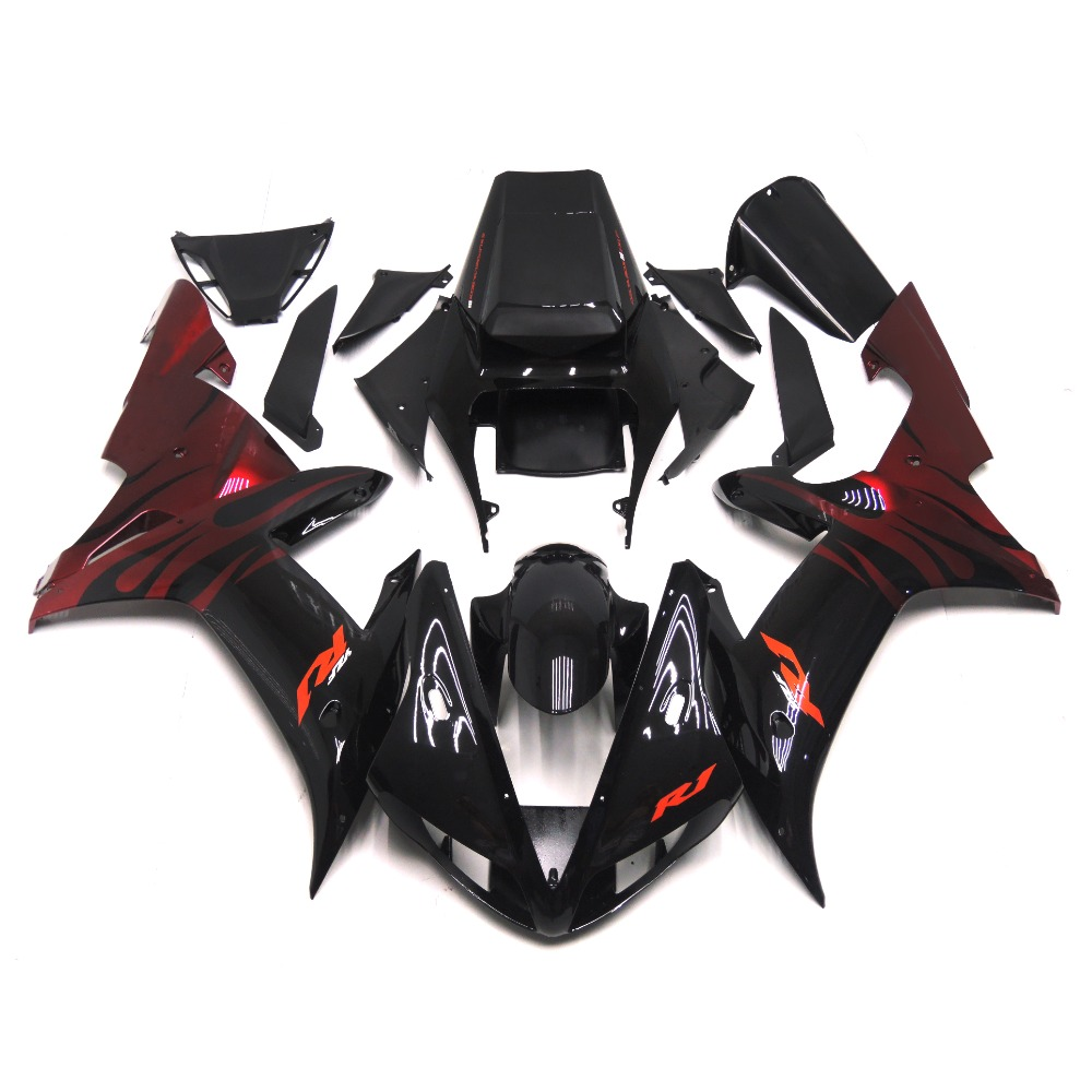 Full Fairings Fit Yamaha R1 02 03 YZF-R1 Year 2002 2003 ABS Injection OEM Motorcycle Fairing Kit ABS Bodywork Black Red Flame(China (Mainland))