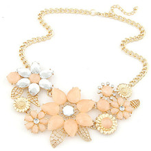 Fashion New 2015 Jewelry Ethnic Hollow Flower Shape Imitation Rhinestone Necklace Collar Choker Necklace For Women
