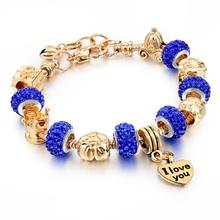 2016 New Arrival Gold Charm Bracelets For Women Snake Chain Heart Bracelets Bangles DIY Crystal Jewelry Pulseras SBR150122(China (Mainland))