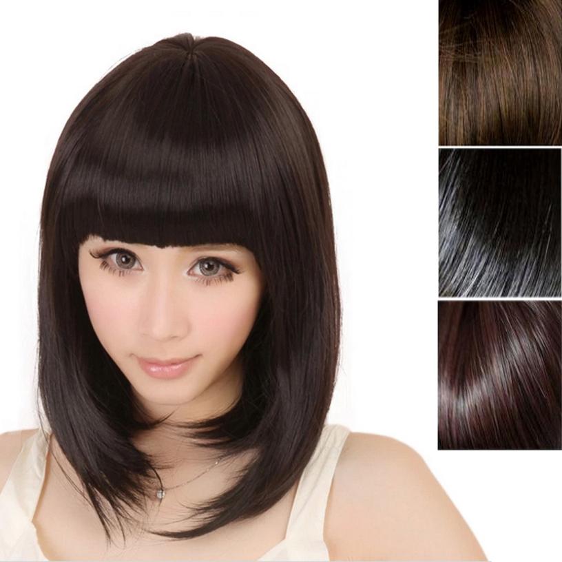 Good quality New Fashion Women Short Straight Full Bangs BOBO Hair Wigs best deal 1pcs(China (Mainland))