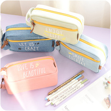 2016 Large Capacity Canvas My Life Cute School Pencil Case For Girls Children Pen Bag Pouch Students Pencilcase School Supplies(China (Mainland))
