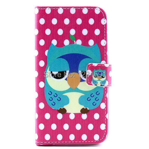 Rose Red Design Wallet Owl Dot Kawaii Green Animal Leather Case Cover for LG Optimus G2(China (Mainland))