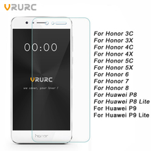 Vrurc Tempered Glass Screen Protector for Huawei  P8 lite P9 lite Tempered Glass for Huawei Honor 6 7 8 3C 4C 3X 4X 5C 5X (China (Mainland))