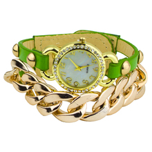 Popular Ladies Punk Style Multicolor Gold Plated leather Rhinestone Band Acrylic Chain Bracelet Dress Watch 5VAM 3Y3FD