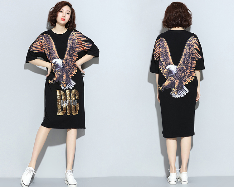 2016 Cool Printing Women Dresses 6XL Print Big Size Half Sleeve Fashion T Shirt Dress Summer Dresses Plus Size Women Dress RE670(China (Mainland))