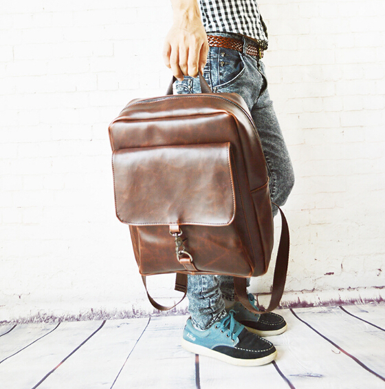 2015 New Style Men's Backpack PU Leather Student Casual School