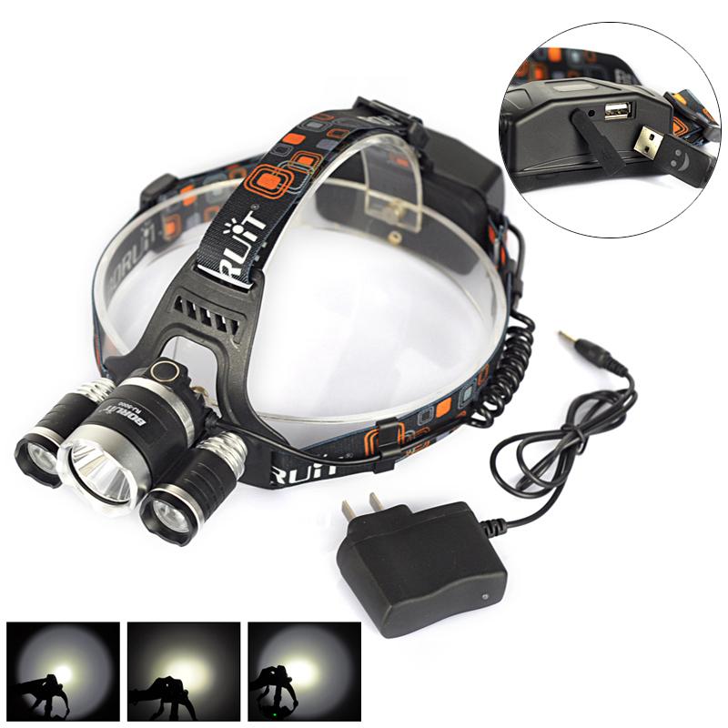 Boruit Aluminium 6000 Lumen Super Bright 3x XML L2 LED Headlamp Headlight 3 LED Head Light Lamp lampe frontale + Charger<br><br>Aliexpress