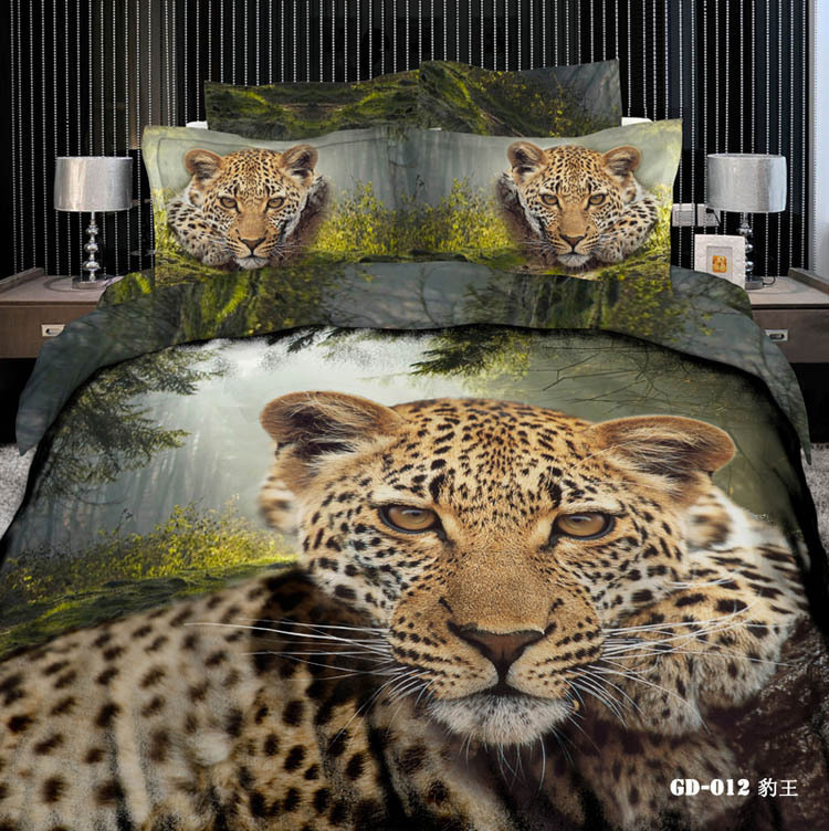 3d leopard print cotton bedding sets king queen size duvet cover
