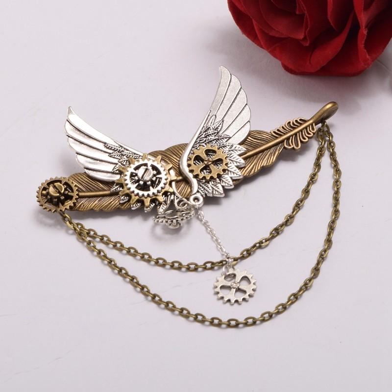 1pc Steampunk Lady Gears Wings Feather Pattern Brooch