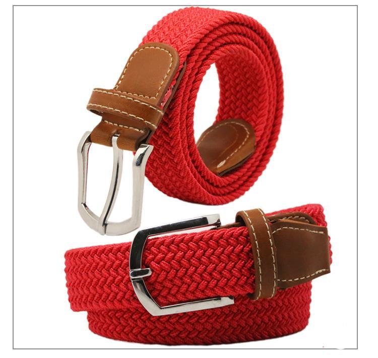 2015 hot sale newest belt Mens Womens Canvas Plain Webbing Metal Buckle Woven Stretch Waist Belt Colors(China (Mainland))