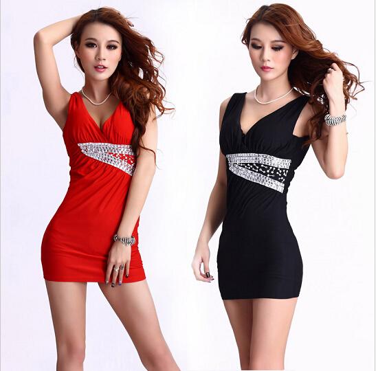 2015 New Sexy V-neck red and black dress costumes nightclub slim hip Lady dressОдежда и ак�е��уары<br><br><br>Aliexpress
