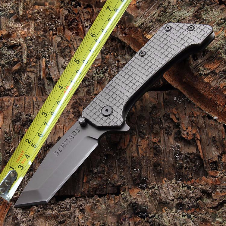 Buy SCHRADE Lattice Folding Knife Two Edge Pocket  Knife Camping Survival Tactical Knives Outdoor EDC Rescue Tools Black/Gray 1764# cheap