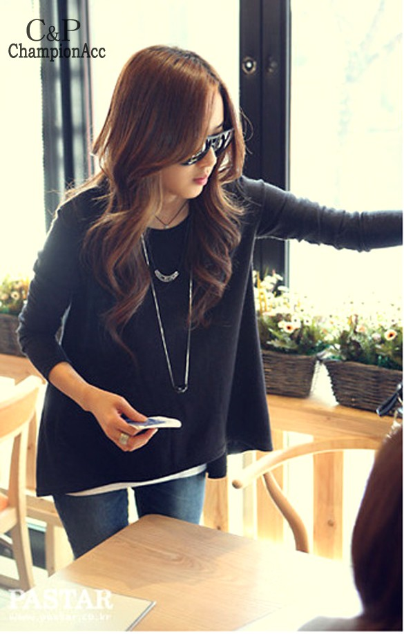 2015 New Fashion Women Blouse Loose Batwing Tops Irregular Korean Stylish Long Sleeve Shirt Black - Championacc 2013 store