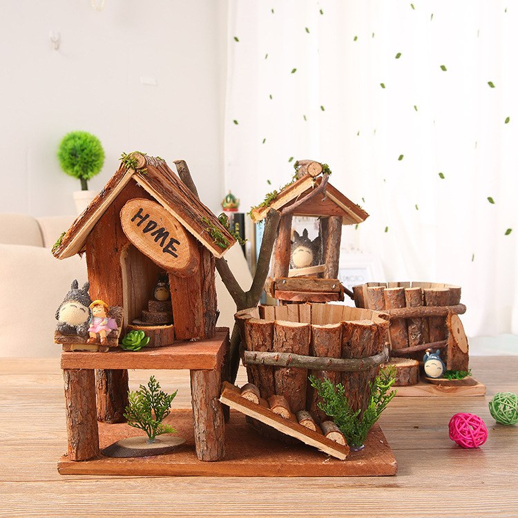 wooden craft home furnishing articles garden decoration totoro warm nest wooden flower pots potted landscape small night lights - Home Decor Articles