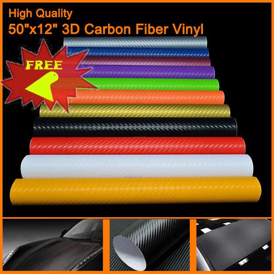 50 X12 3D Black Carbon Fiber Vinyl Film Carbon Fibre Car Wrap Sheet Roll Film Tools