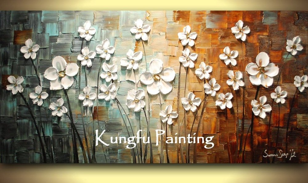 100 hand paint modern oil painting palette knife textured oil painting on canvas wall art - Home decor ltd paint ...