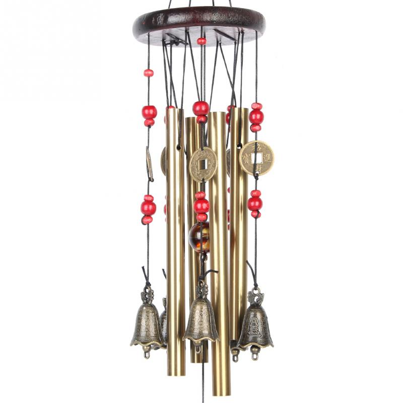 Amazing 4 Tubes 5 Bells Wind Chime Copper Alloy Outdoor Living Wind Bells 60cm Yard Garden Decor(China (Mainland))