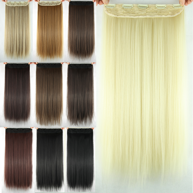 1PC 23inch 100g Synthetic Hair Black,Brown,Blonde Colors 5-Clip in Hair Extension Straight Hair Piece(China (Mainland))