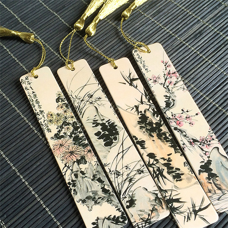 4pcs/lot Vintage Retro Paper Book Mark Bookmark Label hot Ink painting style tassels students Point classical originality XM(China (Mainland))