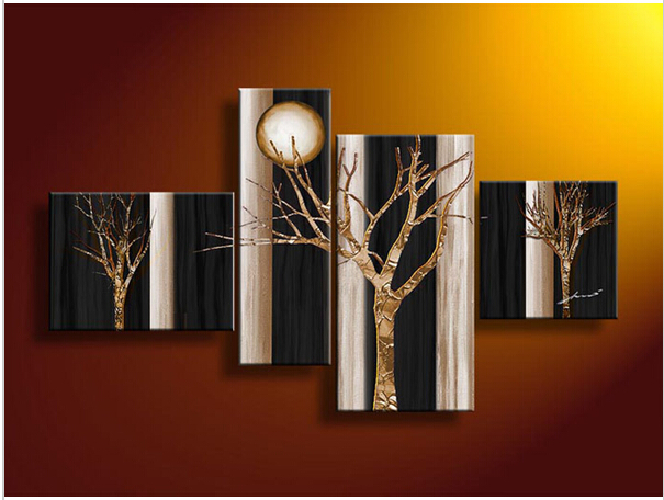 4 Piece Wall Art Botanical Black White And Red Decor Tree