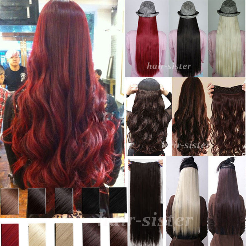"""24"""" 60CM Long Real Thick Curly Wavy Clip in Hair Extensions Extention Half Full Head Brown Blonde Red 100% Great Quality(China (Mainland))"""