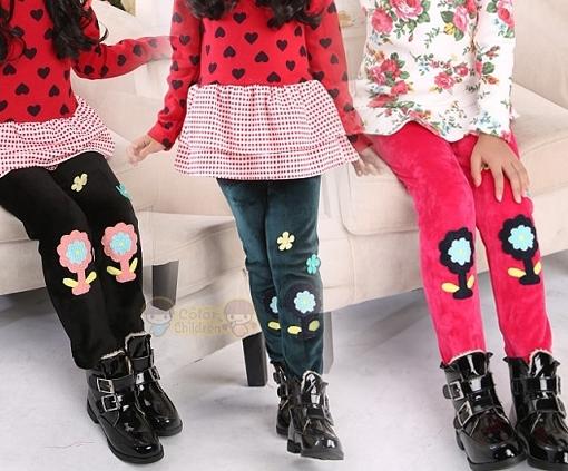 Новые зимние девушки узкие брюки, дети девушка ворсинки шерсть цветок брюки, детские теплые брюки