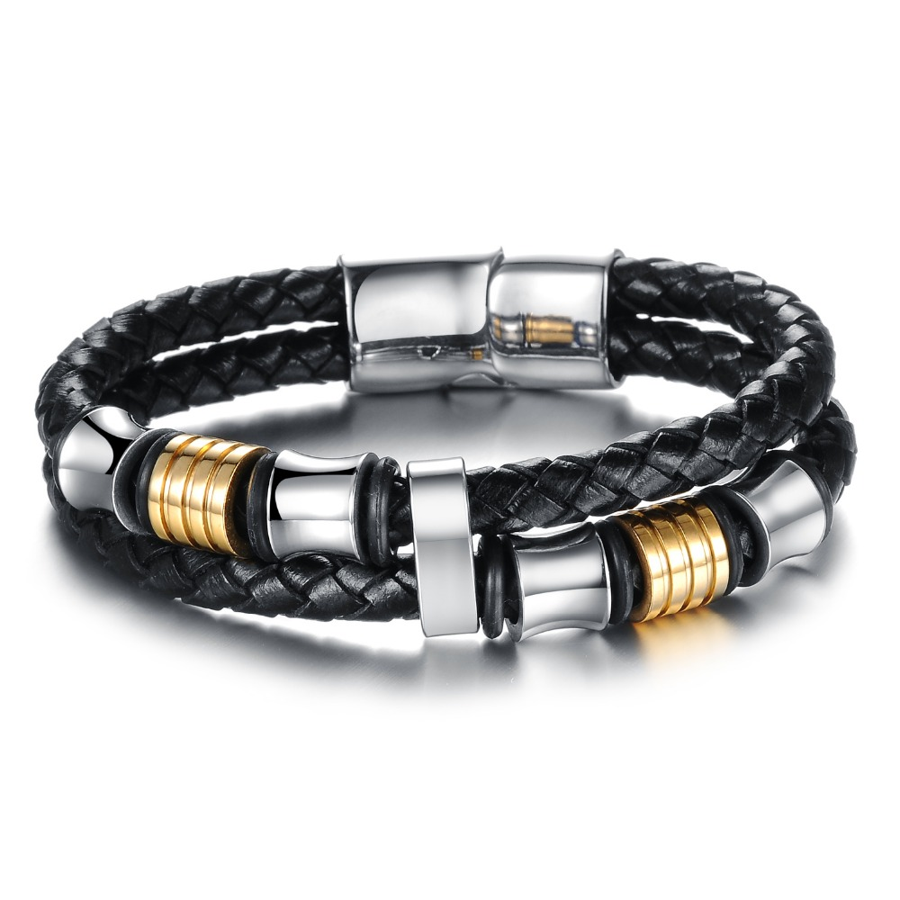 Classical Double Layer Handmade Leather Weaved Man Bracelets Fashion New Magnet Clasp Good Steel Wristband PHK887(China (Mainland))