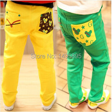 Retail Free Shipping New Children Wear Spring Autumn Kids Casual Trousers Boy Girl Cartoon Mickey Pocket Pants(China (Mainland))