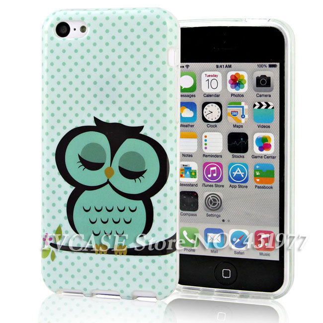 Lovely Cute Owl Soft TPU Silicone Skin Case Cell Phone Cover Apple iPhone 4 4S 5 5S + - IVCASE store