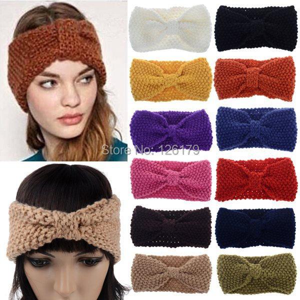 1Pc New Hot Fashion Crochet Flower Bow Knitted Headwrap Headband Winter Ear Warmer Fashion Hair Band Retail&Wholesales(China (Mainland))