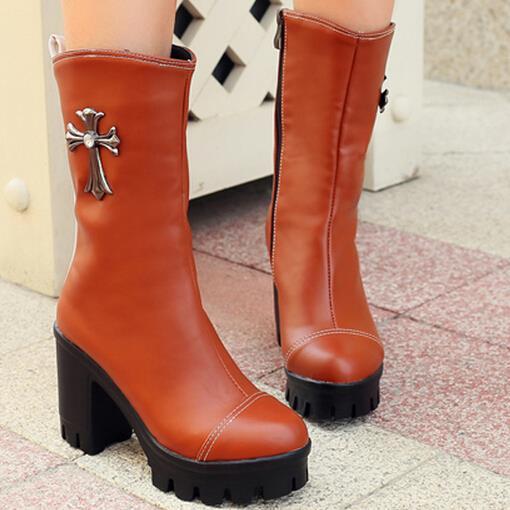 Здесь можно купить  fashion side zip womens mid calf boots platform chunky thick high heel boots large size black brown apricot  Обувь