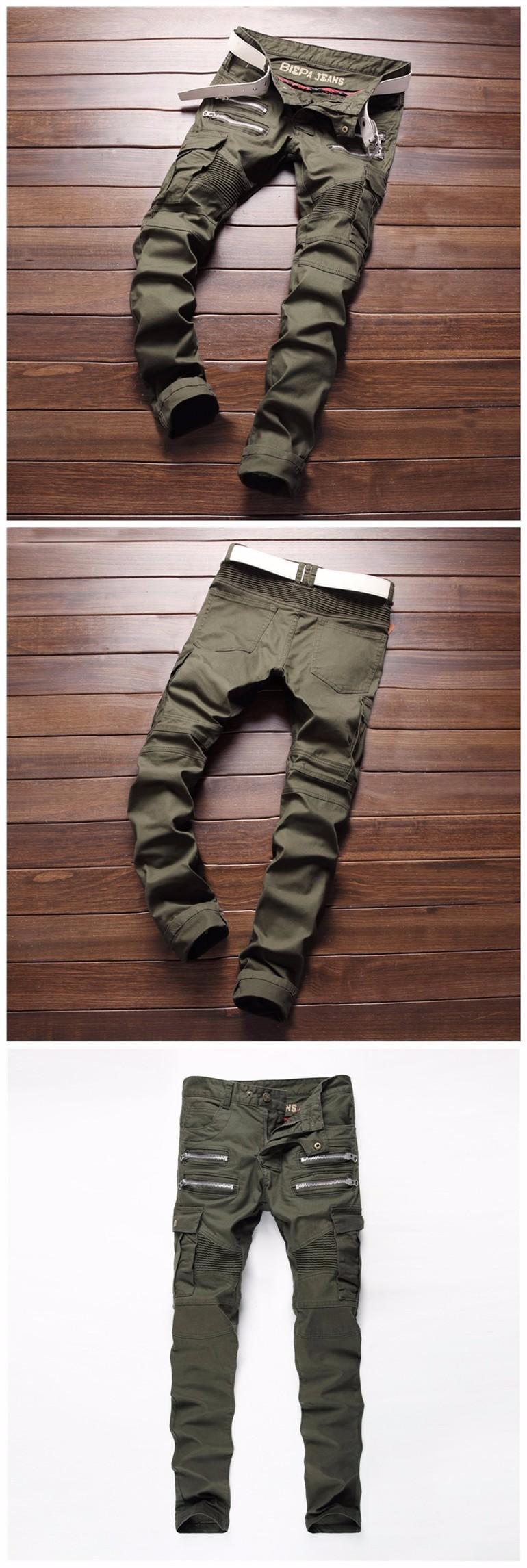 2017 Mens Skinny Biker Jeans Army Green Brand Fashion Denim Pants Pockets Cargo Pant Men Slim fit Jeans Cotton High quality (4)